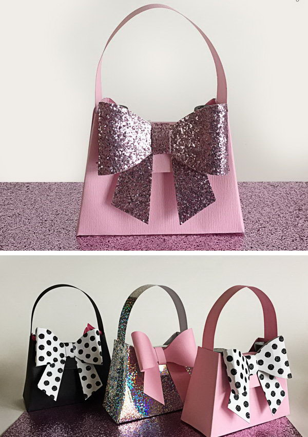 DIY Glitter Bow Paper Purse