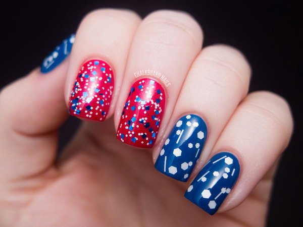 America the Glittery Nail Art: This patriotic red, white, and blue nail art is very easy to recreate. And it speaks perfectly to the upcoming particular American holiday of ours. What's more, I love that it'll be just as cute when the holiday is over. See the tutorial here.