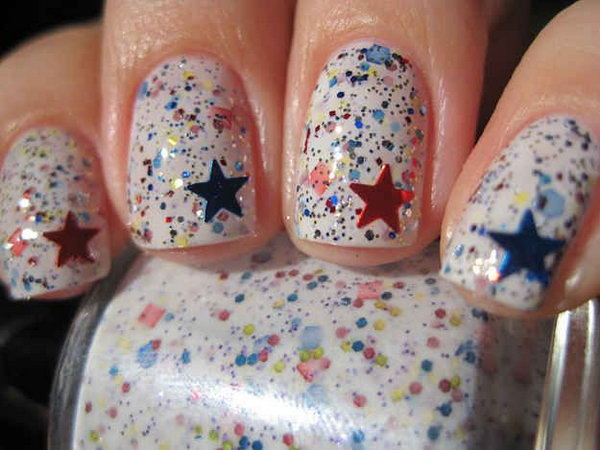 Patriotic Sparkle and Shine Star Accented Nail