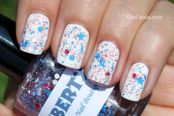 Simple but Fun Patriotic Nails: Add glitter and stars to the white base coat and you can get what is different. And this manicure will be just as cute when the holiday is over. See the tutorial here.