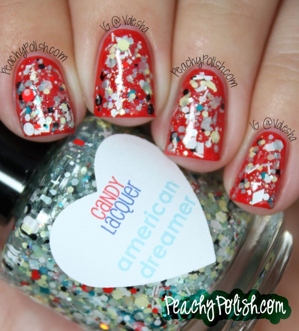 4th of July Candy Lacquer Nail Design: Skip the polish details entirely and go for glitter. This very fancy manicure is very easy to recreate. See the tutorial here.