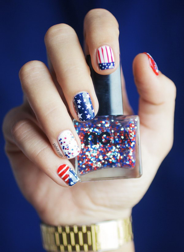 4th of July Stars Stripes and Sequins Nail Art: Do something different on some of your nails, while leaving the rest of the nails for the flag stars and stripes. See the tutorial here.