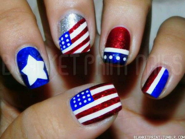 Simple Patriotic Metallic Flag Nail Art: See the tutorial here.
