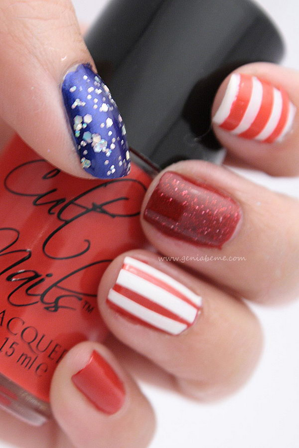 Patriotic Red, White, Blue and Sparkly Nails: Every single nail is different features a more subtle approach. See the tutorial here.