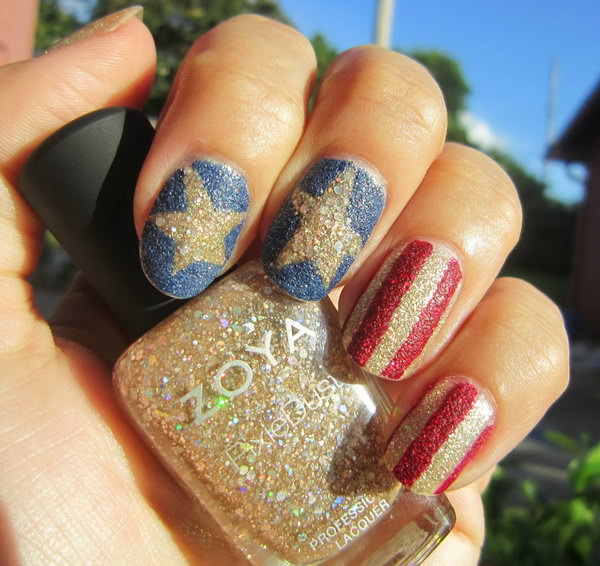 Patriotic Glitter Stars and Stripes Nail Art: Stars and stripes nail art accented with sparkle and perfect for the Independence Day. See the tutorial here.
