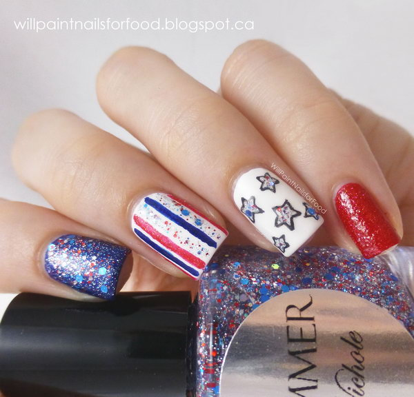 4th of July Glitter America Nail Art: Every single detail of this great nail is impressive. What gives this nail art a festive looking is the color scheme, the adding of some glitter polish, rhinestones. And I especially love the stars. Check out the tutorial here.
