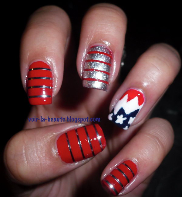 Patriotic Glitter Nail Design Accented with Sparkle Stripes: If you feel like this patriotic tape manicure, please head over to see the tutorial here.