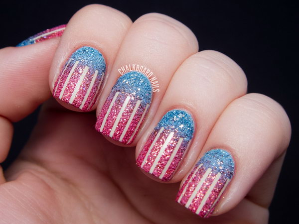 Easy and Textured American Flag Nail Art: Go with the classic patterns, but create a variation on the American flag using textured polish. The combination of smooth and rough in one manicure is so delectable! See the tutorial here.