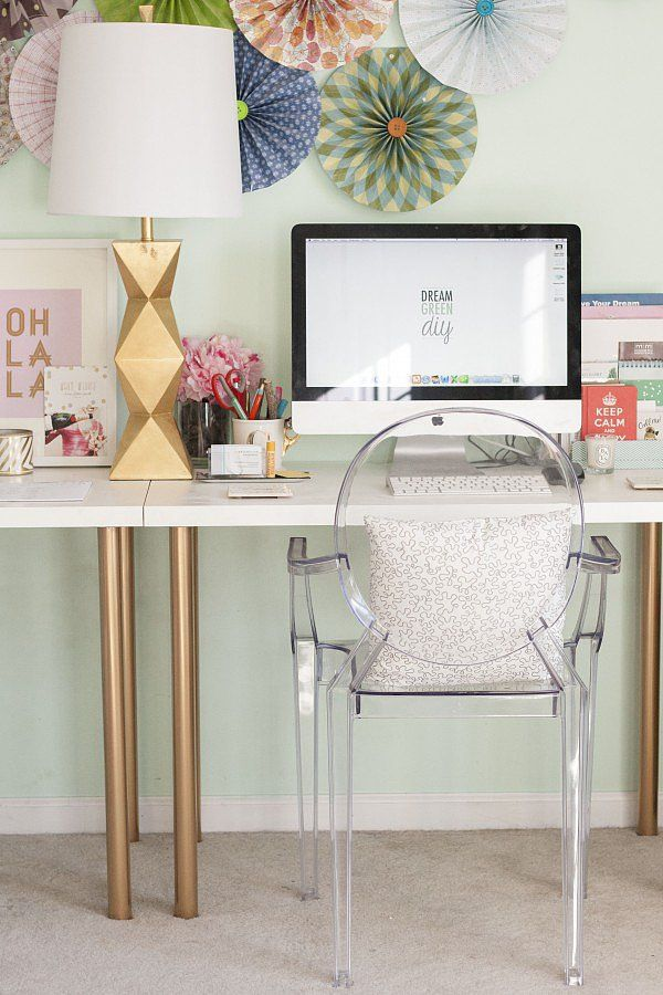 Leggy Gold Desk. Gold is always related to luxury and power. With some spray paint of gold, this simple IKEA desk got a metallic overhaul, providing the workplace with a cohesive look. See more details