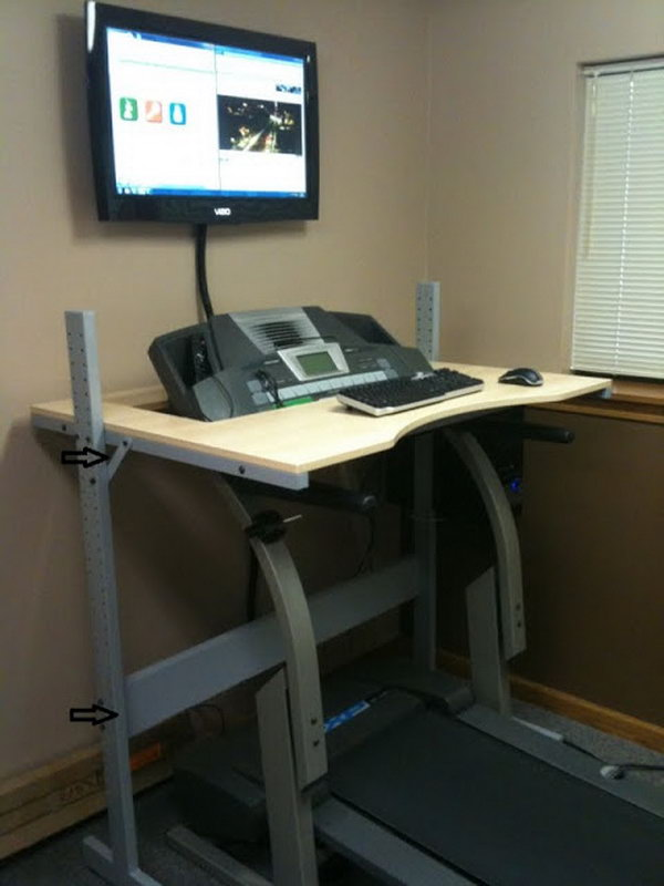 IKEA Treadmill Desk. This creative desk is a great place to take a walk while still getting some work done or watch a tv show on online. It's really a perfect desk for a full time blogger! Click