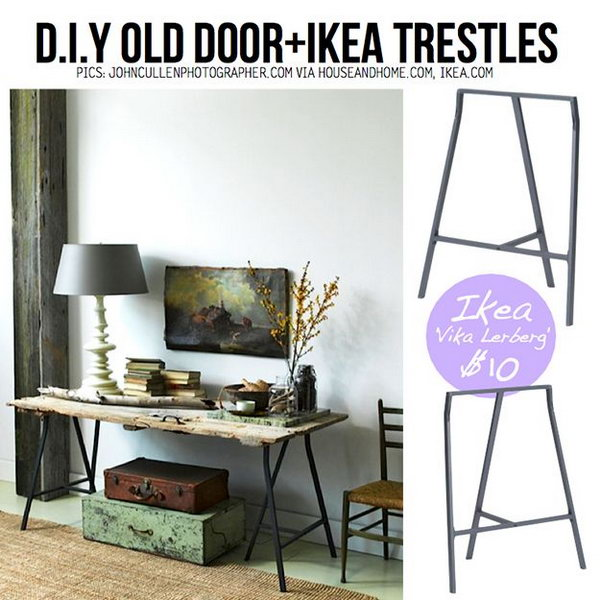 A Rustic Desk from the Old Door. An old door is a sturdy and ideal piece of material that can easily be revamped into other furniture. Here is a creative way to repurpose your old door as a desk.