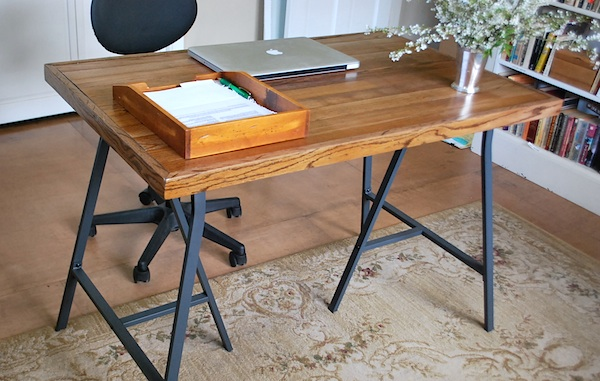 DIY Desk with IKEA Trestle Legs and Old Wood Flooring. This is a shabby chic project to your home decor. You can get the most detailed directions