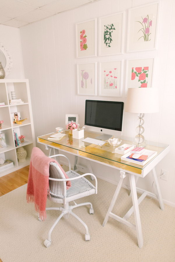 Gold Leafed IKEA Desk. A little gold leafing work gives this desk a touch of modern glamor instead of looking too industrial. You can have this beauty in your personal office.