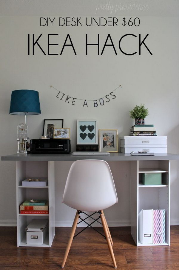Unique shelves ikea hacks : Diy ikea hack desk under $60. get two small bookshelves from target ($ ...
