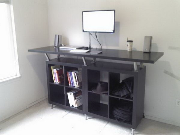 Ikea Standing Desk. Have you considered having such a standing computer desk in your office without breaking your bank? Get some inspiration from this IKEA hack. It just requires an EXPEDIT storage system, CAPITA legs, and a VIKA AMON table top. See more details and the directions