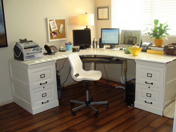 Pottery Barn Inspired Desk. A desk was created inspired by Pottery Barn. for this project, you'll simply need an IKEA's Effective desk and a pair of wooden file cabinets. Get the tutorials
