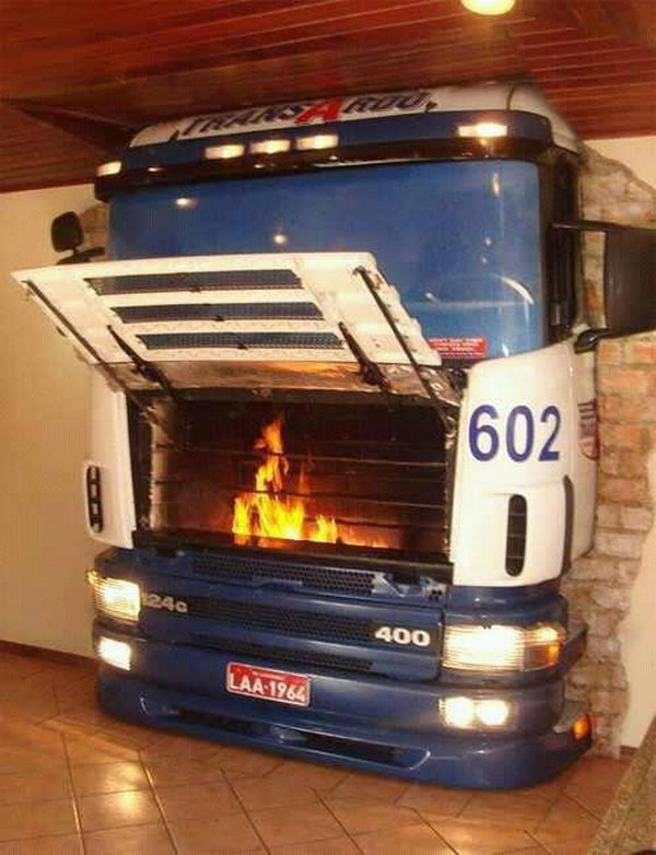Old Bus Fireplace