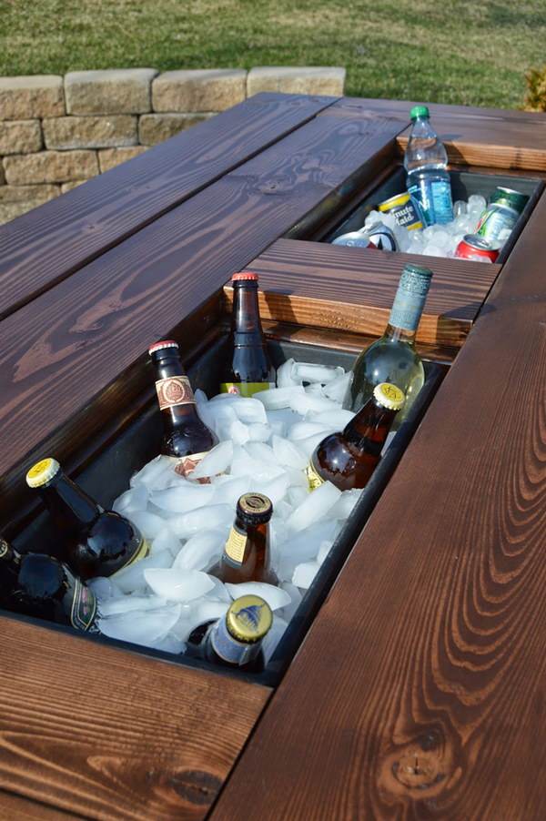 Beverage Bar with Built In Ice Boxes.