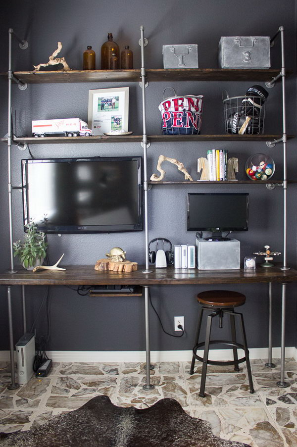 DIY Industrial Pipe and Wood Book Shelve