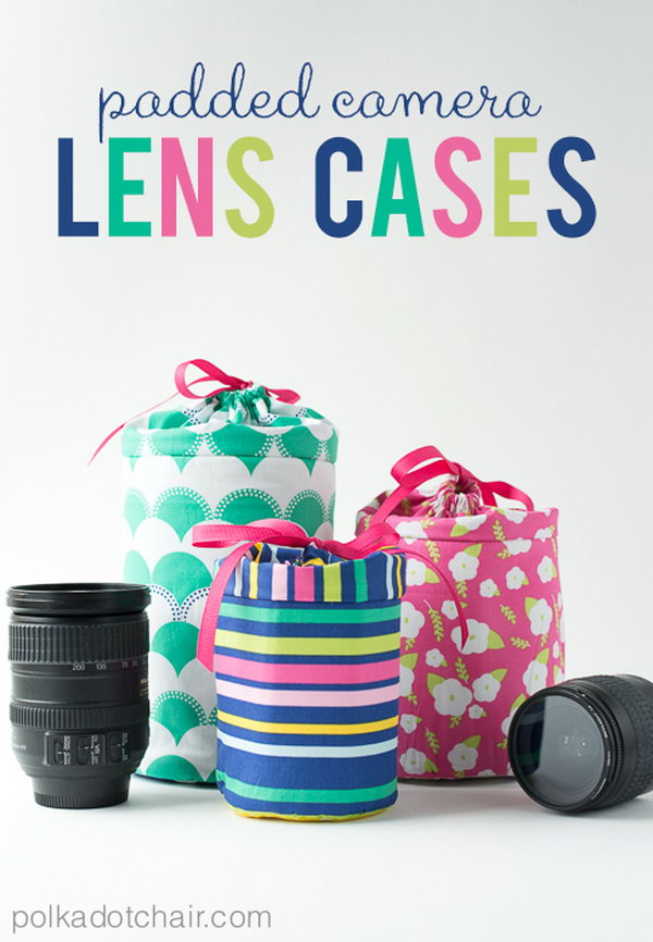 Padded Camera Lens Case. A great gift for camera enthusiasts! It could probably be used as a case or bag for other items of a similar size, too. Get the step by step instructions