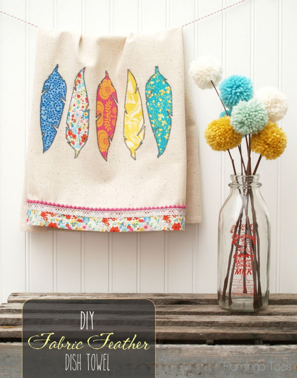Fabric Feather Dishtowel. See how to do it