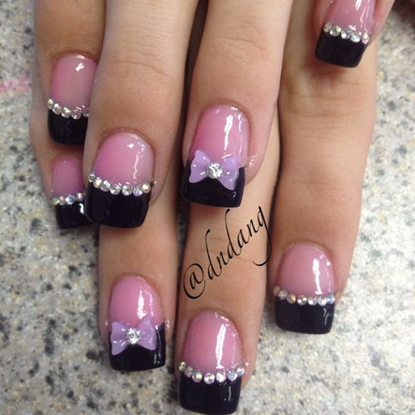 Pink Nails With 3d Bow