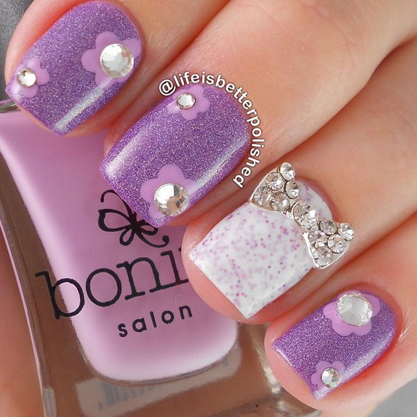 Rhinestone Flowers and Bow Manicure.
