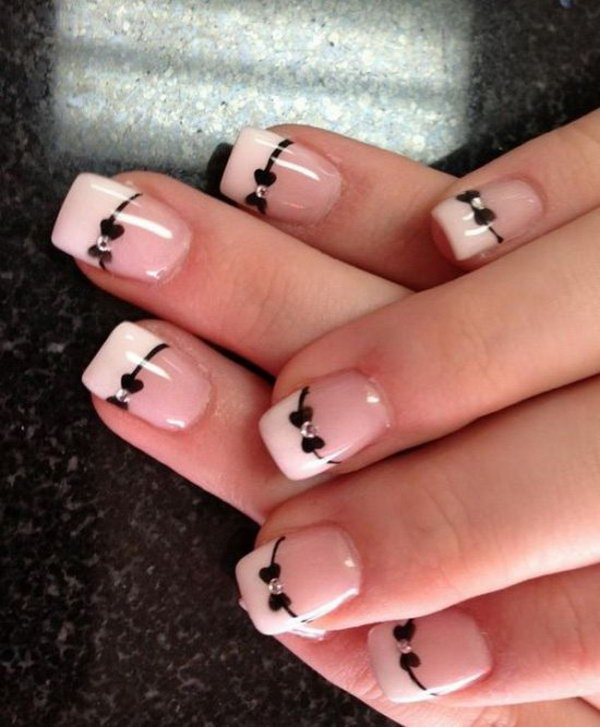 Classic Black and White NailDesign with Cute Bows.
