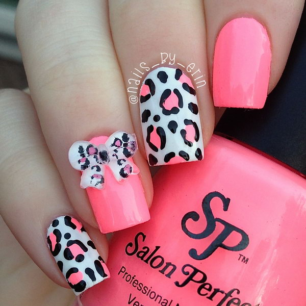 Pink Leopard and 3D Bow Nails.