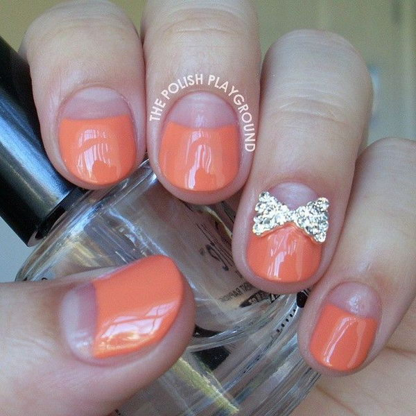 Negative Space Half Moon Mani with Bow Stud.