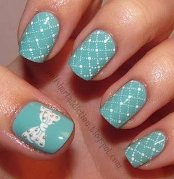 Tiffany Blue with Bow Nails. Get the tutorial