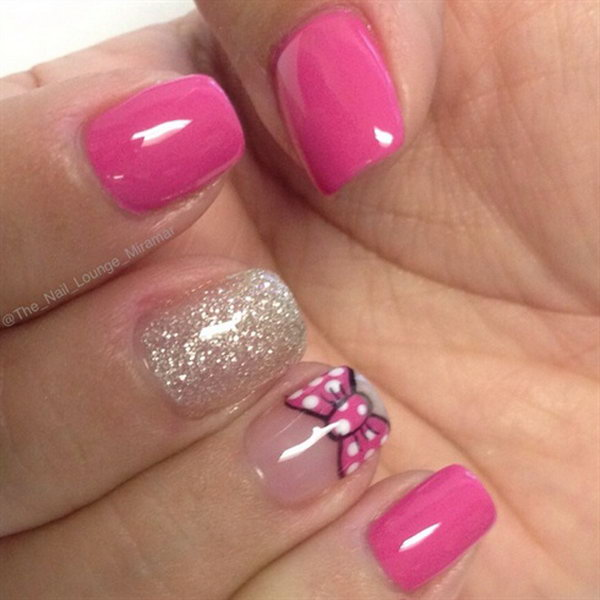 Minnie Mouse Bow Nails.