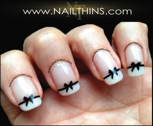Black Bow Nail Decal Bow Nail Art.