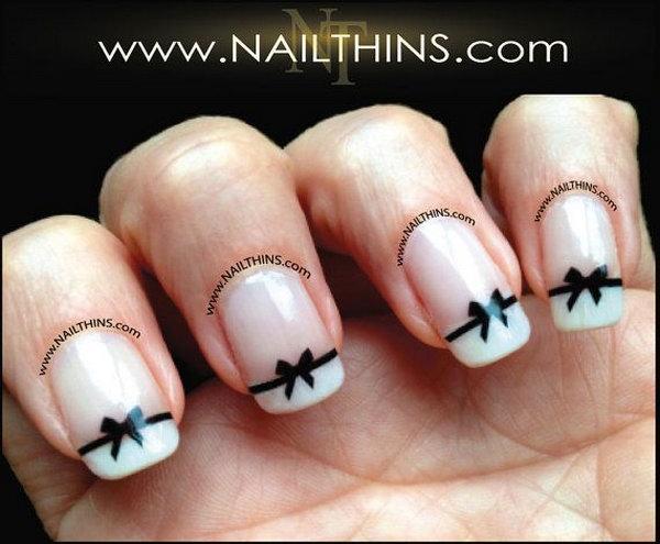 Black Bow Nail Decal Bow Nail Art.