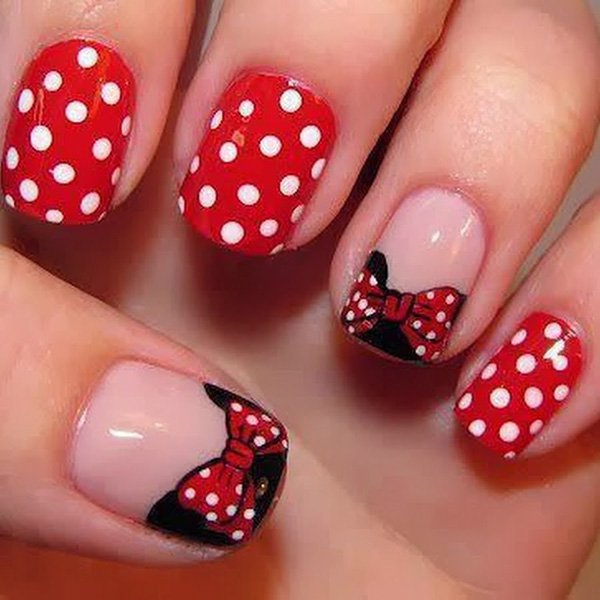 French Nail Art with Polka Dots and Bows. See the tutorial