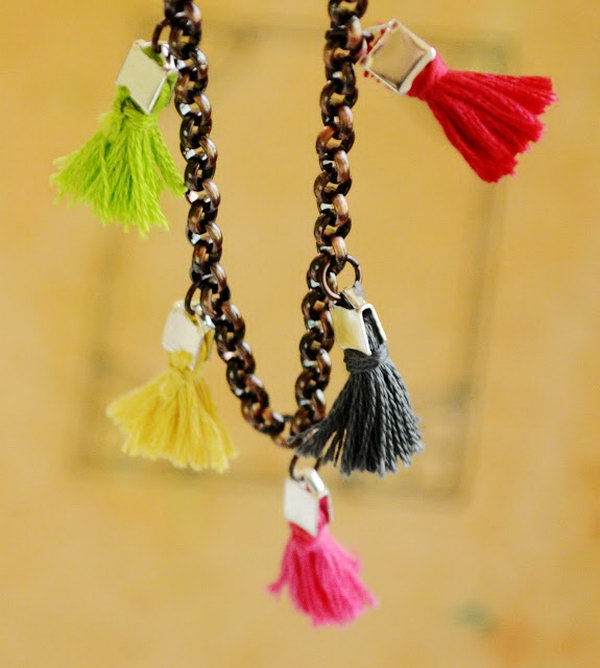 Tiny Tassel Bracelet DIY. Get the steps