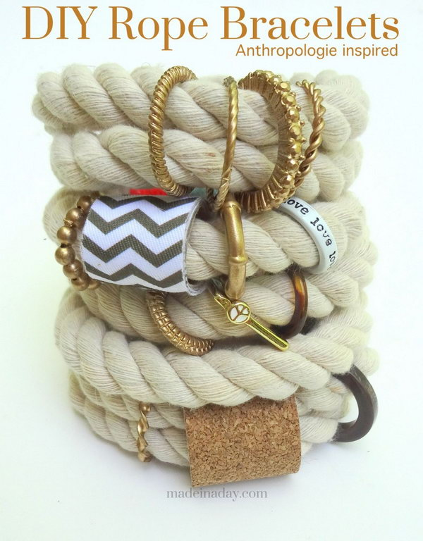 DIY Anthropologie Inspired Rope Bracelet. See the tutorial