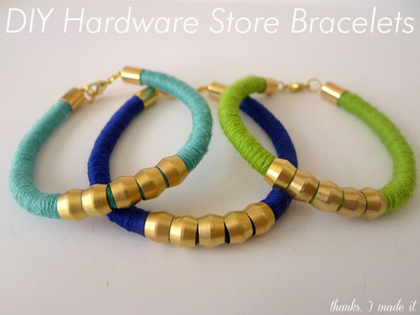 DIY Hardware Store Bracelets. See the tutorial