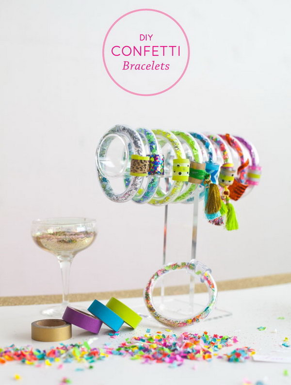 DIY Confetti Bracelets. Get the instructions