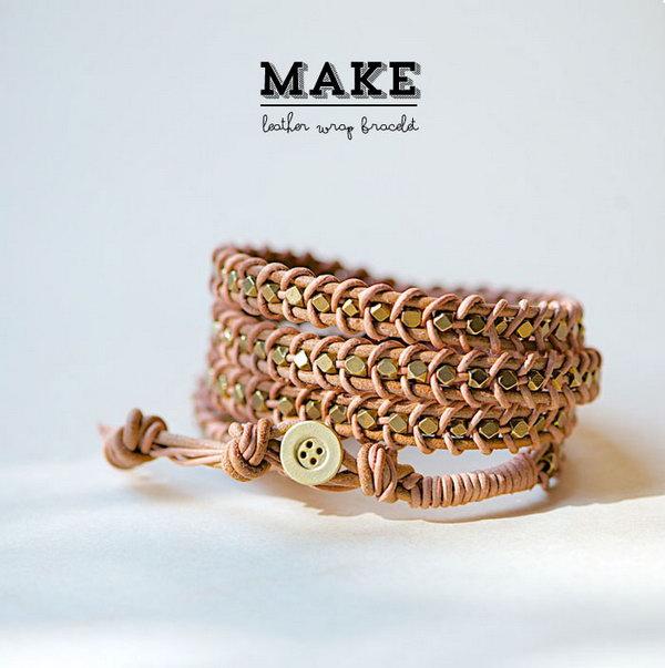 DIY Leather Wrap Bracelet. See the tutorial