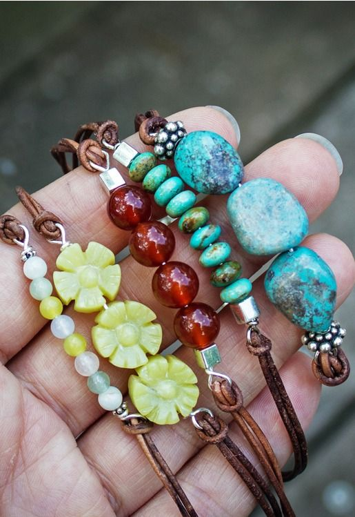 DIY Beaded Leather Bracelet.