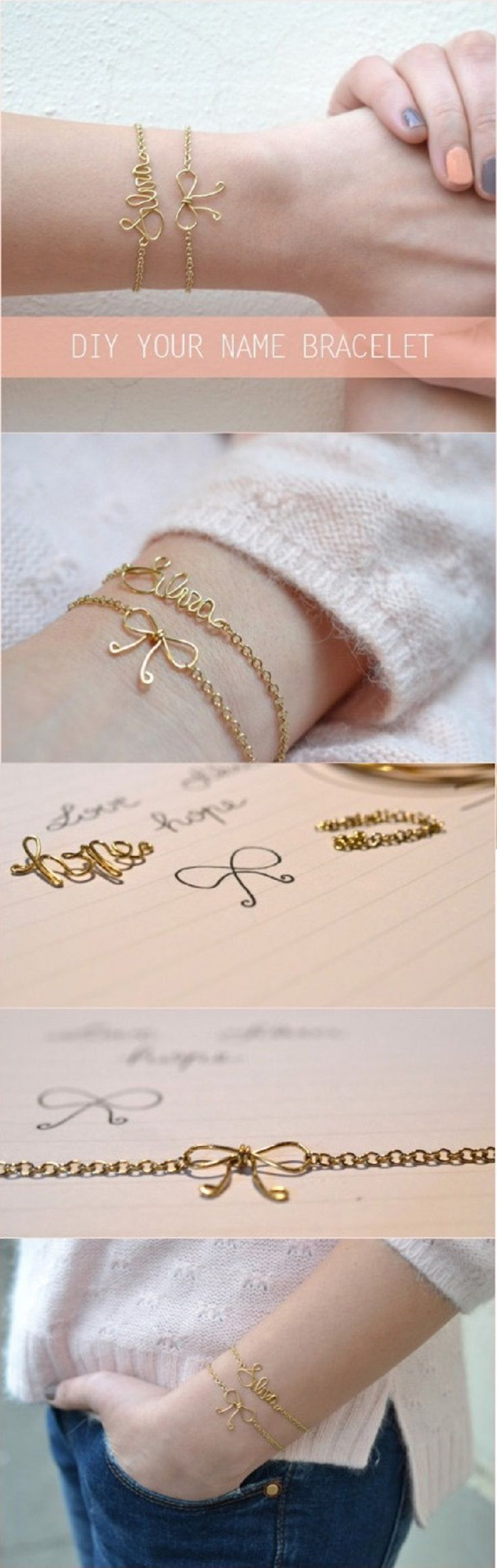 DIY Your Name Wire Bracelet. Use wire to wrap your name and a little cute bow for your homemade bracelet. Look awesome and chic on your wrist. Start to make your own now!