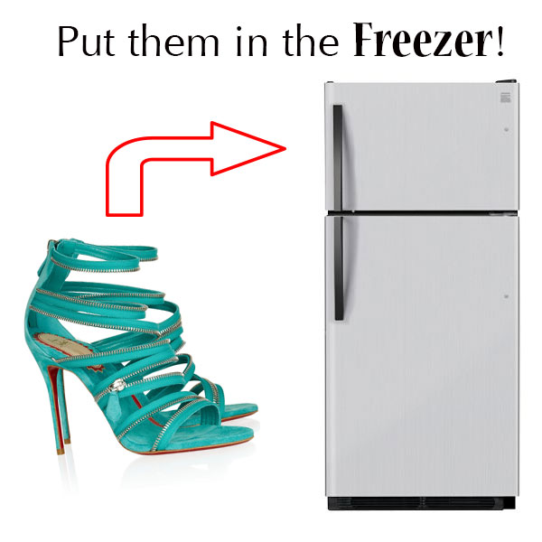 Put New Heels in the Freezer. Put your shoes in the freezer for up to six hours. Once they're nice and frozen, put them on your feet and wear them for 30 minutes. The sweat and heat from your feet will force the cold fabric and leather to soften and mold to your foot. Repeat a few times if necessary.