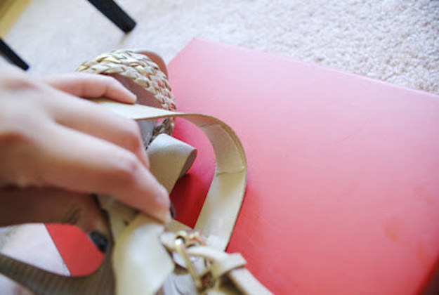 Use Moleskin to Cushion Tight Shoe Straps. Stick moleskin to a pair of new heels rather than to your skin.