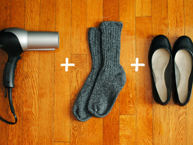Use Wool Socks and Heat to Loosen Up Tight Spots. New heels too tight or small ? Here is a super genius trick to comfy your new heels with a pair of wool socks and heat in 2 minutes.