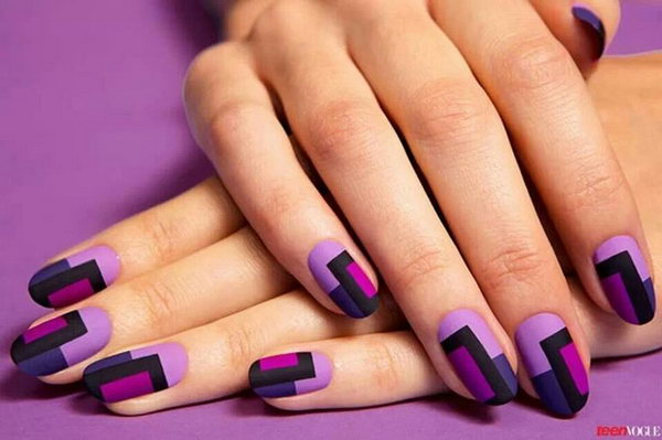 Glamorous Color Blocks Nail Art .