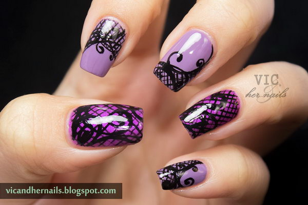 Purple Webbing and Swirls Nail Art.