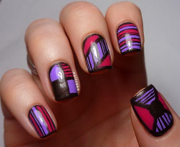 Stripy Geometric Mix Nail Art.