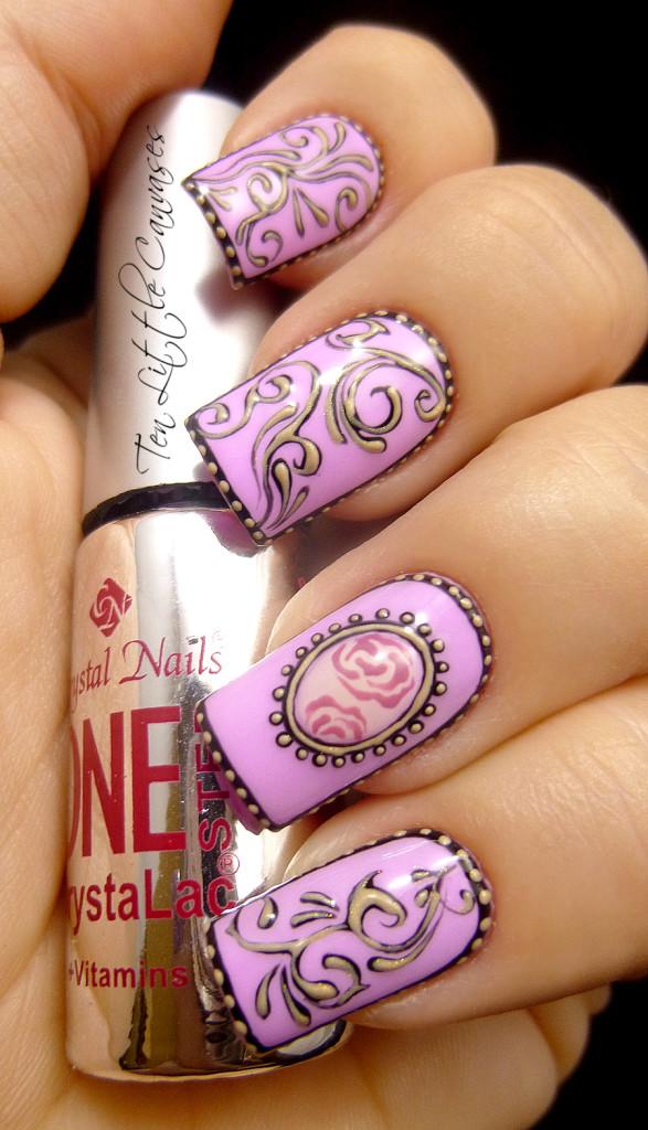 Pretty Lilac Vintage Nail Art.