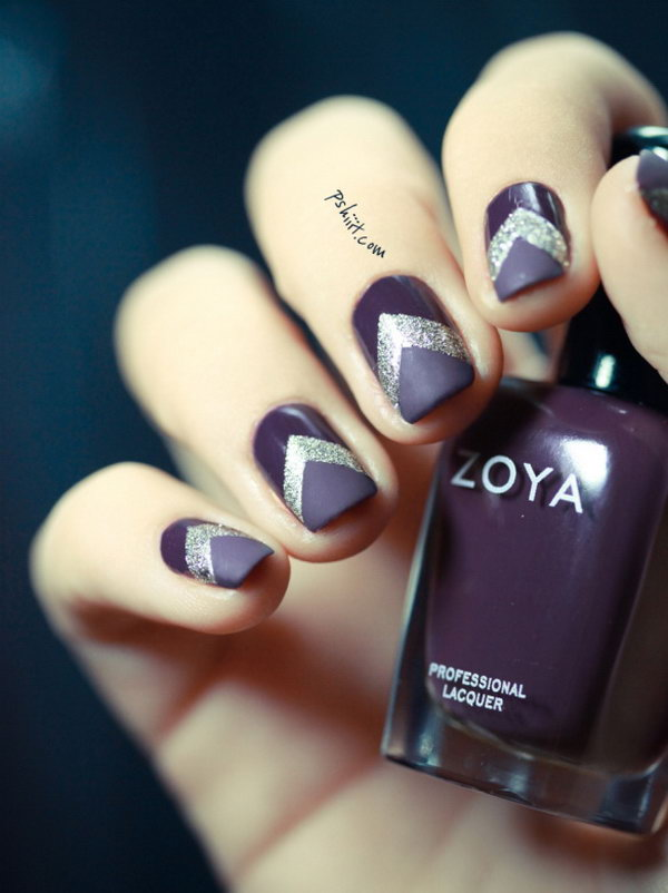 Silver Chevron on Grape Background Nail Art - 30+ Trendy Purple Nail Art Designs You Have To See